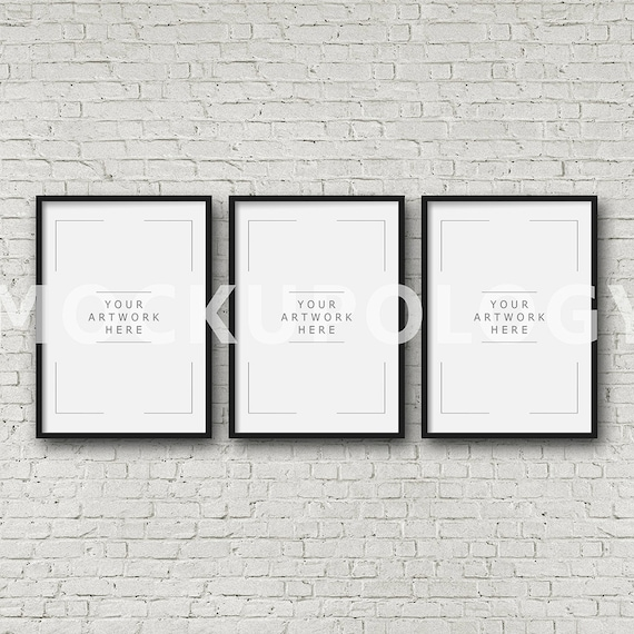 A4 A2 Set of Three Vertical DIGITAL Black Frame Mockup Styled | Etsy