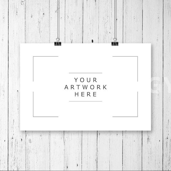 8x12 Horizontal Hanging Paper Mockup Frame Paper Clips