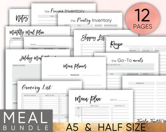 meal planner printable etsy