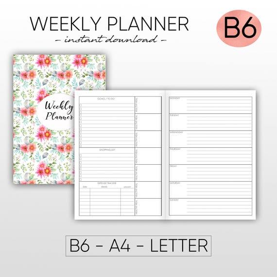 graphic relating to Midori Insert Printable identify Weekly Planner Midori Weekly B6 Inserts Weekly Printable Planner Printable Midori Include Fast Down load Printable Planner Planner Inserts