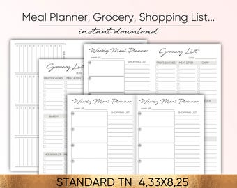Meal Planner, Menu INSERT, Menu weekly, meal insert, menu standard, grocery shopping list favorite meals, midori standard, midori printable