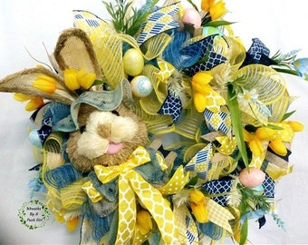 Bunny Wreath, Spring Wreath, Spring Decor, Easter Deco Mesh Wreath, Bunny Decor, Easter Wreath, Easter Décor, Blue Wreath, Yellow Wreath