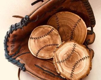 Baseball coasters, baseball gifts, sports gifts, wood baseball decor, Baseball Father's Day gift, gifts for him, coach gift, baseball home d