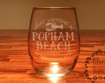 Popham Beach Maine Wine Glasses   Maine Stemless Wine Glass   Popham Beach Glass What Happens In Popham Stays In Popham