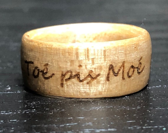 Personalized sugar maple wood ring - Wood ring with pyrography. Ideal for Valentine's day gift. Handmade in Canada