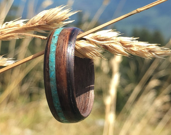 Featured listing image: Turquoise Wood Ring, Turquoise Mens Ring, Mens Wooden Ring, Wood Wedding Rings, Wood Ring Men, Turquoise Engagement Ring, Wood Jewellery
