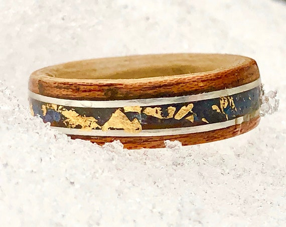 Lapis lazuli, yellow gold and recycled wood ring - A boho wedding ring to offer -  A  vintage wood ring handcrafted in Montréal