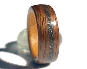 Meteorite ring, Wooden Rings, Meteorite engagement ring, Wood ring, Mens wedding band, Meteorite wedding band,  Meteorite Band, Montreal
