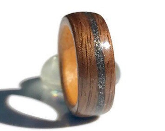 Personalized wood and meteorite wedding ring - A raw stone ring with recycled wood -  Unique wedding ring handmade in Canada