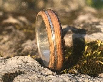 Smokey Edge, Authentic Whiskey Barrel Ring, Silver Ring 925, Jack Daniels 1975, Wood Wedding Band, Mens Wedding Band, Women Wedding Ring,