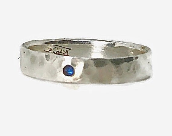 Constellation silver ring ring with multicolor sapphires inlay - A unique ring made of silver 925 and mahogany wood - Handcrafted in Canada