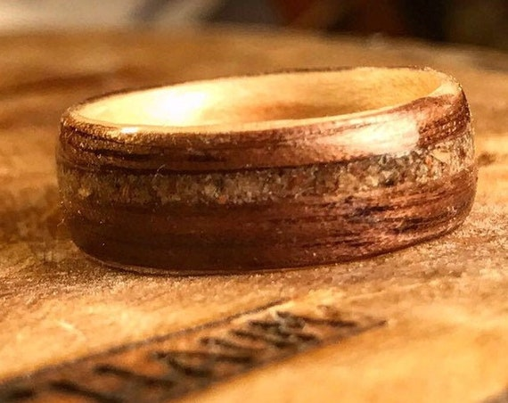 Concrete Ring from Central Park New York, Mens wedding band, Wooden wedding ring, Wedding band, Man wedding band wood, Wood wedding ring,