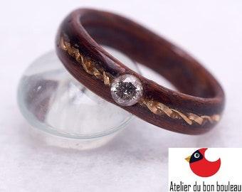 Diamond engagement ring, Wood wedding band, Raw Diamond Ring, Raw Crystal Ring, Mens wood ring, Wooden rings for men,