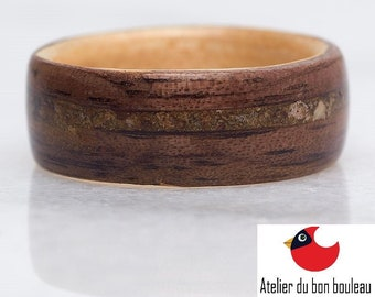 Mont-Blanc French Alps Ring, Collection Rings of the World, Quartz from Massif du Mont Blanc, French Alps, Ring ewelry Ring Wooden,