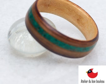 Malachite Ring, Smokey Edge Style, Mens wedding band, Mens Wooden ring, Nature wedding ring,