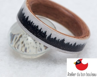 Black And White, Unusual Promise Ring, Black And White Ring, Black White, Black White Ring, White And Black Wood Ring, Wood Black White Ring