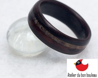 French Alps Mont-Blanc Ring, ollection Rings of the World, Quartz from Massif du Mont Blanc, Mens Wedding Bands,  Ebony Ring,