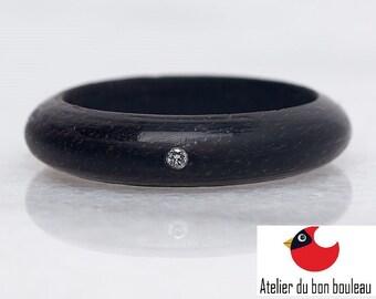 Diamond ring, 0.0015CT, Ebony Ring, Wood wedding band, Raw Diamond Ring, Raw Crystal Ring,