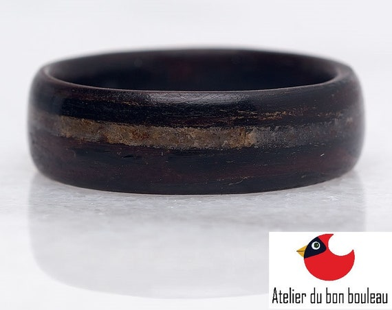 Black ebony and white quartz engagement ring - A personalized recycled wood promise ring - Handcrafted in Montréal