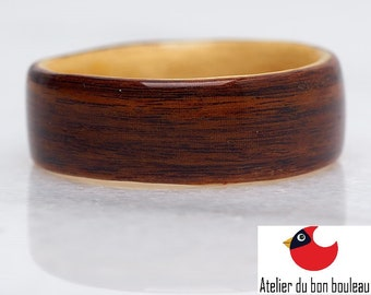 Rosewood and Maple Wood Ring, Womens Wood Ring , Wood ring men, Wooden rings for men,