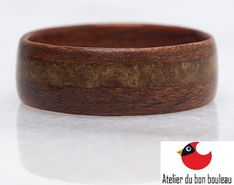 French Alps Mont Blanc Ring, Collection Rings of the World, Quartz French Alps, Massif du Mont Blanc, Wood, Ring Wood, Mens wedding bands