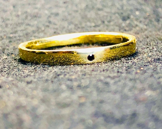 14k gold and black diamond ring, A minimalist yellow gold or white gold ring. Personalized gift handmade in Canada