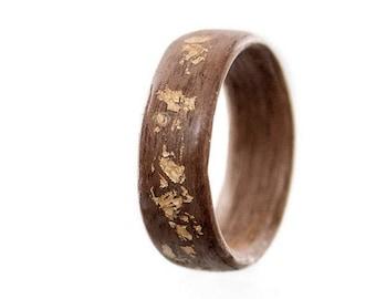 Mens wedding band , Women engagement ring , Mens wedding rings,  Wood Ring, Wooden Ring, Bentwood Ring, Women promise ring, 24 K Gold Leaves