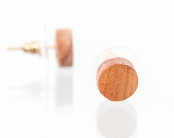 Wooden stud earrings for men. Handcrafted wood earring studs made of recycled wood. Minimalist round stud earrings