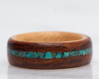 Turquoise Ring, Mens wedding band, Mens Wooden ring, Nature wedding ring, Promise ring set, Mens promise ring,