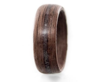 Mens wedding band, Meteorite wedding band, Raw stone, Meteorite, Raw stone ring,Meteorite ring, Wooden Rings Wood ring,