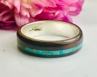 Turquoise jewelry, Turquoise ring, Turquoise engagement ring, Raw stone, Turquoise, Wood ring, wooden ring, Mens wedding ring, Montreal