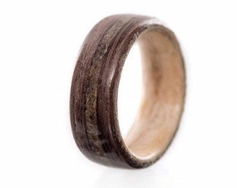 Concrete from Old Port of Montreal, Mens wedding ring, Wood ring, Mens wedding band, rings,  Jewelry, Art deco ring, Eco friendly,