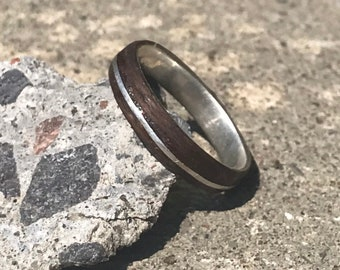 Wooden Silver Ring, Wood Anniversary, Silver Wood Ring, Yellow Sapphire Wood Ring, Iron Anniversary, Bent Wood Ring, Bent Wood Band