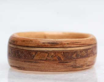Authentic Whiskey Barrel Wood Ring, Gold Filled and real Cork Inlay, Wood Wedding Band, Engagement Ring, Mens Wedding Band