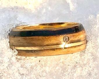 18k, Yellow Gold Ring, Whiskey Barrel Jack Daniels OAK, Gold Wedding Band, Wood Gold Ring, Gold Wood Ring,