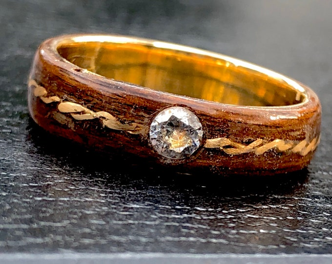 Featured listing image: Diamond wooden ring setting and gold 18k - A unique men or women wedding ring -  A natural round cut diamond wedding ring handmade in Canada