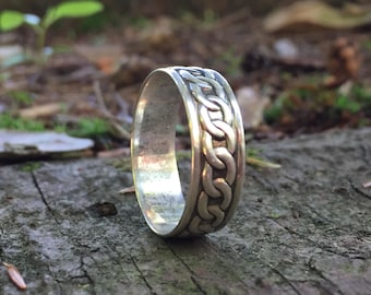 925, Wooden Silver Ring, Wood Anniversary, Silver Wood Ring,Wood Ring, Iron Anniversary, Bent Wood Ring, Bent Wood Band