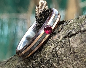 Red Rubis. Silver Liner. Turquoise and Double Gold inlay 14K , Wood Wedding band, Mens engagement Ring, Wood rings, Wooden rings, Bands