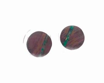 wood stud earrings,matte black studs,men earring studs,mint stud earrings,mint studs,fake plugs,fake gauge earrings,wood studs,hand painted