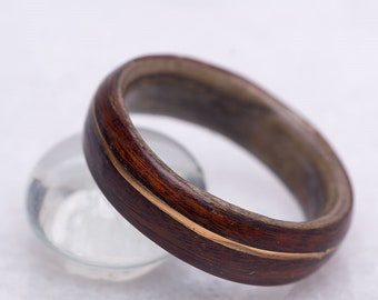 WOODEN RING BAND - Gold Ring Band - Unique Wedding Ring - Handmade Ring Band - 1st Anniversary Band - Hippie Band Ring