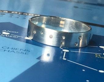 Diamond Ring, Big Bear Silver 925 Diamond Ring, Collection Constellation, Wedding Band, Engagement Ring, Stars Ring, Customizable,
