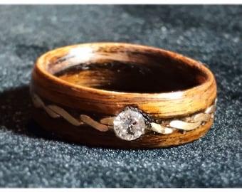 Diamond wood ring, Diamond Engagement ring, Raw diamond ring, Vintage diamond ring, Eternity band, Pave diamond ring , Stacking ring,
