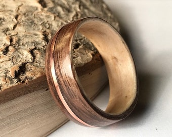 Wood Gold Ring, 14k Gold Filled, Gold Filled, Gold Band Ring, Brown Ring, Eco Friendly Ring, Eco Ring, Filled 14k, Gold Wooden Ring