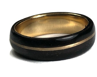 Yellow Gold Filled 14k Ring,African Ebony, Wood Rings,  Gold Wedding Band, Wood Gold Ring, Handmade in Montreal Canada Wood Wedding Band,