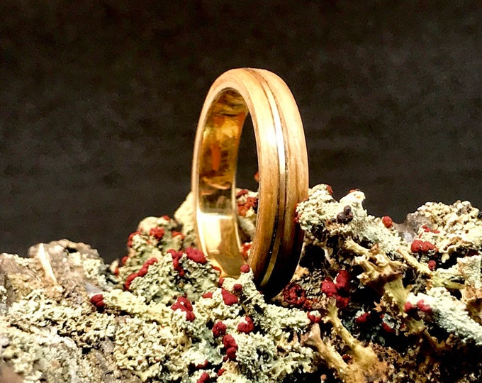 Featured listing image: Solid Gold Ring 18K, Authentic Whiskey Barrel Wedding Ring, Solid Gold 18k, Mens Wedding Band Wood Gold, Whiskey Barrel Wood Ring, Oak Wood