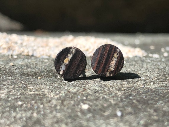 Exotic wood studs earrings with Miami Beach sand inlay. Original wood earring studs. Handmade in Canada