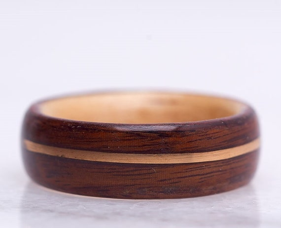 Men engagement ring handmade with Rosewood and 14K yellow gold