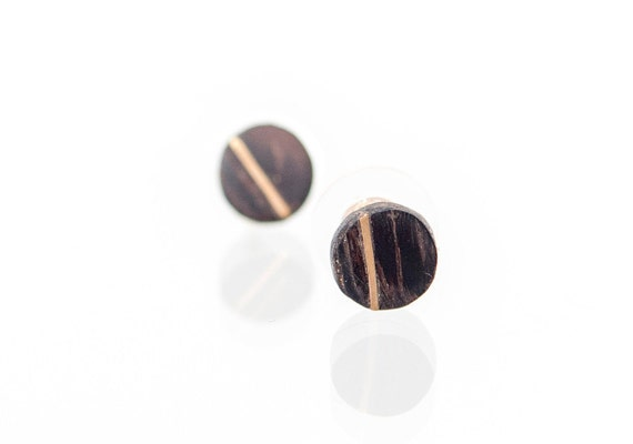 Gold and wood stud earrings. Handcrafted round natural wood earring studs. Unisex gold earrings