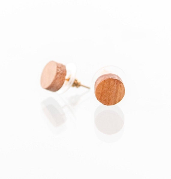 Handcrafted wooden earrings. Recycled wood earring studs. Perfect gift. Handmade in Canada