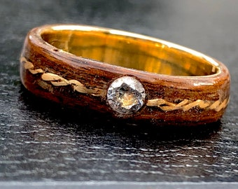 Diamond and 18K gold wooden women wedding ring, engage rings, Jewelry made in Montreal,man wedding band, Women Engagement ring, Love Ring